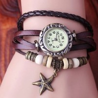 Amazon.com: Brown Color Quartz Fashion Weave Wrap Around Leather Bracelet Lady Woman Wrist Watch: Toys & Games