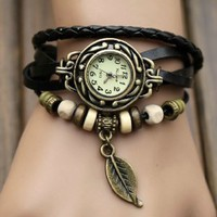 Amazon.com: Black Color Quartz Fashion Weave Wrap Around Leather Bracelet Lady Woman Wrist Watch: Electronics