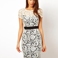Lipsy VIP Lace Dress with Contrast Waistband at asos.com