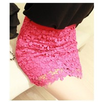 SakuraShop — Retro Flower High Waisted Lace Skirt Short skirts