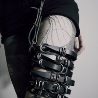 Spiked Leather Waist Belt with attached Leg Buckles