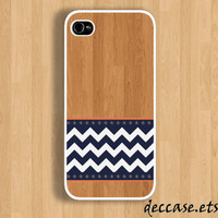 IPHONE 5 CASE Wooden Chevron With navy blue iPhone 4 case,iPhone 4S case,iPhone caseHard Plastic Case Rubber Case