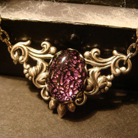 Victorian Style Pink / Purple / Black Dichroic Glass Necklace in Antique Silver (1071)