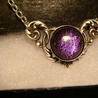 Victorian Style Purple Dichroic Glass Necklace in Antique Silver (1072)
