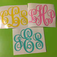 "Triple Letter 4"" Personalized Vinyl Monogram Decal Sticker"