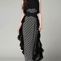 Fashion Polka-dot Print Chiffon Maxi Dress - OASAP.com