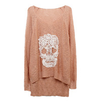 Lace Batwing Knit With Skulls Motif