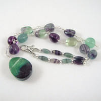 Rainbow Fluorite Necklace with Teardrop Pendant