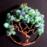 Green and Blue Aventurine Tree of Life Brooch Wire Wrapped World Tree