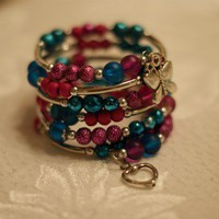 Memory Wire Bracelet Teal and Fuchsia