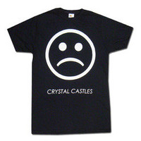 Crystal Castles Merchandise Store  - Crystal Castles  T-Shirts  Sad Face on Black T-Shirt