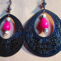 Pink Jade / Blue Patina Brass /  White Cloisonne Bead /  Brass Gypsy / Boho Hoop Statement Earrings