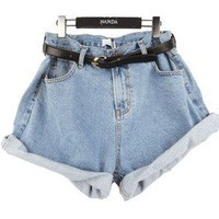 restoring ancient ways of tall waist jean shorts