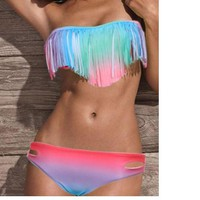 Gradient tassel  bikini
