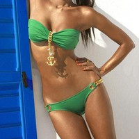 Fashion Green  Golden Anchor Bikini