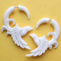 Hand Carved Fake Gauges - FREEBIRD - Natural White Bone - Tribal Bird Earrings