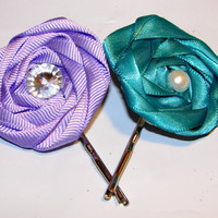 Set of two beautiful turquoise and purple by LizziesBowtique1
