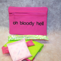 Oh Bloody Hell Hot Pink Tampon & Maxi Pad Case Zippered Fabric Purse Pouch / Tampon Keeper