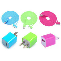 waloli shopping mall  Total 6pcs/lot!USB Data Charging Cable Cord USB Power Adapter Wall Charger For Iphone 4/4s/5