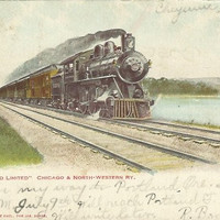 "Antique UB Postcard ""The Overland Limited"" Chicago  and North-Western Railroad - Train - 1906 Railroad Killstrike"