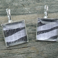 Zebra Print Earrings, Silver pierced tile type