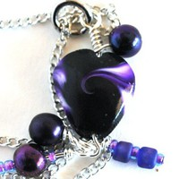 Black and Purple Heart Necklace on a Silver Plated Chain with Metallic