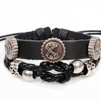 Soft Black Leather Bracelet, Women Leather Jewelry Bangle Cuff Bracelet, Men Leather Bracelet  RZ00251