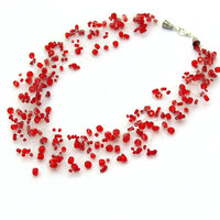 Red Necklace. Beaded Multistrand Necklace. Beadwork