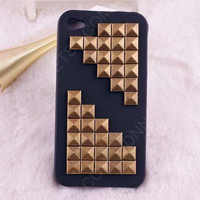 IPhone 5 case, black case  Corner Studded iPhone 5 Case,bronze Pyramid  Studs    iPhone Case