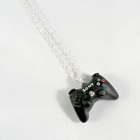 PS3 Playstation 3 Controller Necklace, Silver Plated Chain, Cute & Geeky :D