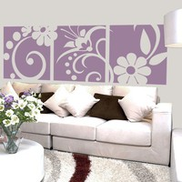 Vinyl Wall Decal Sticker Art - Elegant Three Panel Floral Motif - extra large