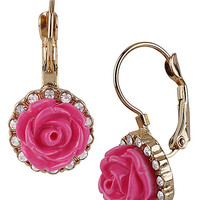 BetseyJohnson.com - FLOWER DROP EARRING FUCHSIA