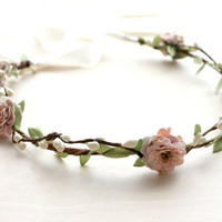 Pink Mauve Floral Crown Wedding, Flower Crown. Woodland, Spring, Hair Wreath, Boho, Bridal, Hair Accessories,