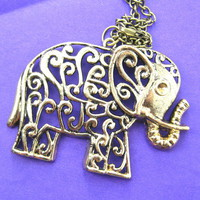 animalcharms | Floral Elephant Animal Charm Necklace in Bronze |  Affordable Animal Charms and Necklaces