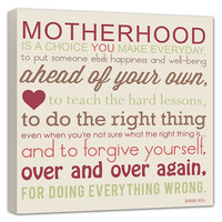 Motherhood Mother Daughter Quote gift for by GeezeesCustomCanvas