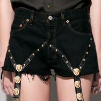 Gold lion suspender shorts [Bij3000] - &amp;#36;159 : Pixie Market, Fashion-Super-Market