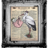 ITS A GIRL Dictionary Art Print Antique by FoxHunterStudios