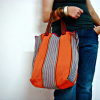 Canvas Tote Bag with Leather Handles Orange Grey Stripes