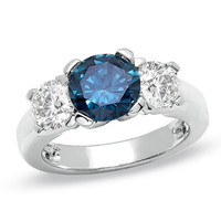 4 CT. T.W. Enhanced Fancy Blue and White Diamond Three Stone Ring in 14K White Gold - View All Rings - Zales
