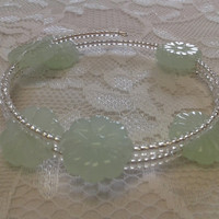 Sea Green and Clear Glass Bead Memory-Wire Bracelet & Earrings