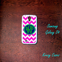 Samsung Galaxy S4 Case, Pink Chevron pattern with personalized monogram Samsung Galaxy S4 case, Samsung Galaxy S3 Cases, Galaxy  S3 case