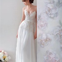 Column Spaghetti Straps V-Neckline Papilio Wedding Dress PWD025 -Shop offer 2013 wedding dresses,prom dresses,party dresses for girls on sale. #Category#