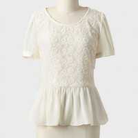 Springfield Peplum Top In Cream at ShopRuche.com