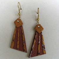 Geometric Earth Art Earrings in Pearl, Copper, Gold and Swarovski Crystal in Polymer Clay