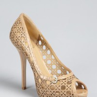 Christian Dior brown sugar patent cannage mesh leather peep toe pumps | BLUEFLY up to 70 off designer brands