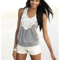 CROCHET TRIMMED RACERBANK TANK 