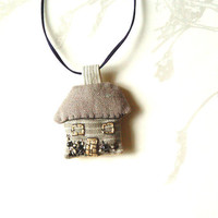 My Little House Pendant, Tiny House, Fiber Art Jewelry, Handmade Pendant, Embroidered House