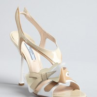 Prada tan and white patent leather cutout sling back sandals | BLUEFLY up to 70 off designer brands