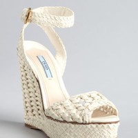 Prada ivory woven leather peep toe wedge sandals | BLUEFLY up to 70 off designer brands