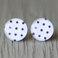 Fake Plugs : Black and White Polka Dot Stud Earrings, Summer, ArtisanTree, Bohemian, Boho, Fun, 12mm